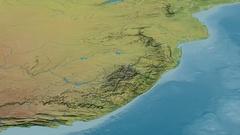 Revolution around Drakensberg mountain range - masks. Topographic map Stock Footage