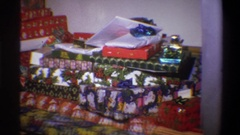 1973: a pile of presents in various wrapping paper NEW YORK Stock Footage