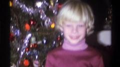 1973: happy kids on christmas NEW YORK Stock Footage