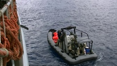 Belgian navy vessel operates on mediterranean sea for SAR Stock Footage