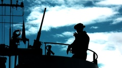 Soldier silhouette with machine gun and cigarette Stock Footage