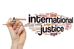 International justice word cloud concept Stock Photos