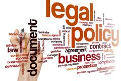 Legal policy word cloud Stock Photos