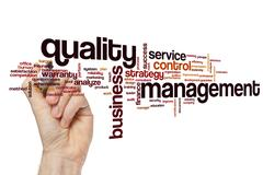 Quality management word cloud concept Stock Photos