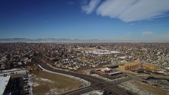 2016: sky view of a busy cityscape on a clear day COLORADO Stock Footage