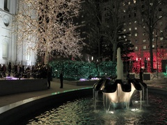 Temple Square winter Christmas fountain and lights DCI 4K Stock Footage