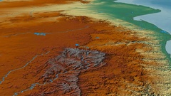 Glide over Drakensberg mountain range - masks. Relief map Stock Footage