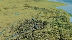 Glide over Drakensberg mountain range - masks. Topographic map Stock Footage