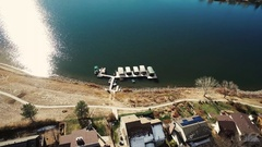 2016: small village on the bank of a lake with calm water COLORADO Stock Footage