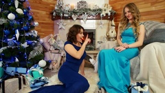 Christmas surprise, girl exchange gifts for Christmas, New Year's celebration Stock Footage