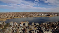 2016: aerial shot of a lake COLORADO Stock Footage