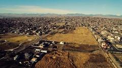 2016: aerial shot of a big empty field. COLORADO Stock Footage