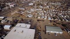 2016: aerial view of suburban commercial area COLORADO Stock Footage