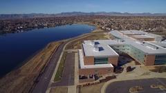 2016: blue lake and city COLORADO Stock Footage