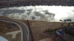 2016: birds eye view of a lake side community. COLORADO Stock Footage