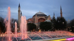 Hagia Sophia, Spectacular views of the pool at night Stock Footage