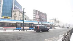 Sirkeci crossroad under snow Stock Footage