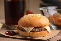 Classic cheeseburger with ingredients Stock Photos