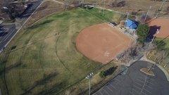 2016: aerial of baseball diamond and outfield COLORADO Stock Footage