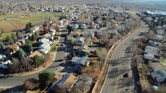 2016: curving roads and highways divide and create separate residential Stock Footage