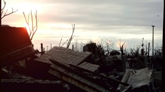 Sunset and Destruction in Ghost  Town Epecuen Stock Footage