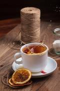 Tea in white cup with sweets Stock Photos