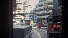 1982: several double-decker trams make their way down a busy street HONG KONG Stock Footage