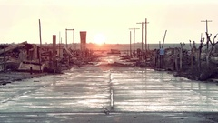 Sunset in the Ghost Town Epecuen Stock Footage