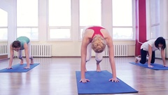 Young girls and fitness, sport, training, yoga. Group yoga concept. Yoga team Stock Footage
