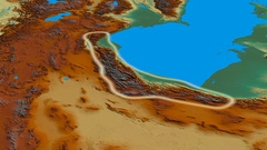 Revolution around Elburz mountain range - glowed. Relief map Stock Footage