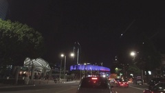 Driving Towards Staples Center in Los Angeles At Night Arkistovideo
