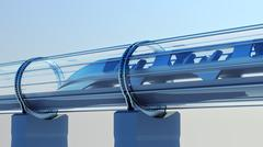 Monorail futuristic train in tunnel. 3d rendering Piirros