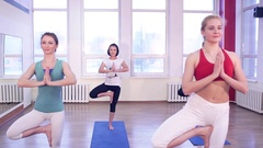 Young girls and fitness, sport, training, yoga. Group yoga concept  Stock Footage