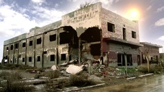 Hotel Destroyed in the Ghost Town Epecuen Stock Footage