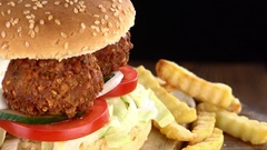 Falafel Burger with Chips as seamless loopable 4K footage Stock Footage