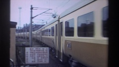 1982: train passing by a town HONG KONG Stock Footage