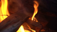 Hardwood firewood burn in the fire Stock Footage