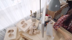 Women Creating Papier-Mache Figures Stock Footage