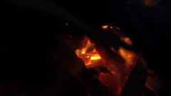 Hot flame shines in the darkness Stock Footage