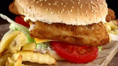 Fish Burger seamless loopable; 4K UHD) Stock Footage