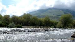Semyonovskoe gorge, the river Ak-Suu. Issyk Kul, Kyrgyzstan Stock Footage