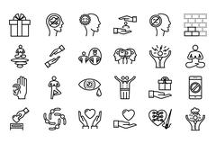 Conscious living icons set Stock Illustration