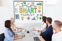 Business Team Attending Video Conference Stock Photos
