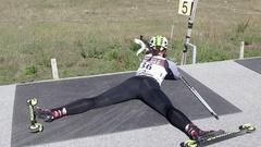 Shooting lying at biathlon summer training, SLOW MOTION Stock Footage