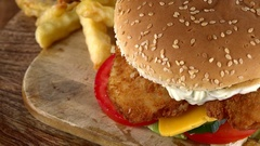Rotating Fish Burger with Chips (not loopable; 4K) Stock Footage