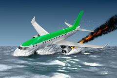 Catastrophe - Crash of Passenger plane . 3D illustration.  My own plane desig Stock Illustration