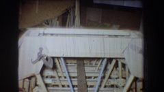 1965: railing with wooden cross members VOLMER YUCAIPA CALIFORNIA Stock Footage