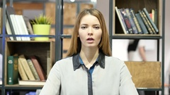 Skype, Woman Doing Online Video chat , Indoor Office Stock Footage