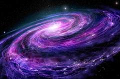 Spiral galaxy, 3D illustration of deep space object. Stock Illustration