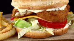 Fish Burger (rotating; not loopanle; 4K) Stock Footage